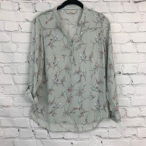 Light green Bird patterned blouse